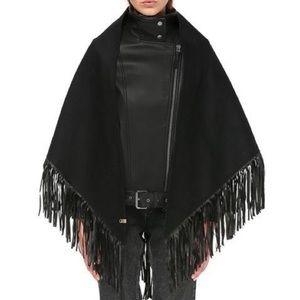 Mackage black Wool and leather fringe shawl OS NWOT